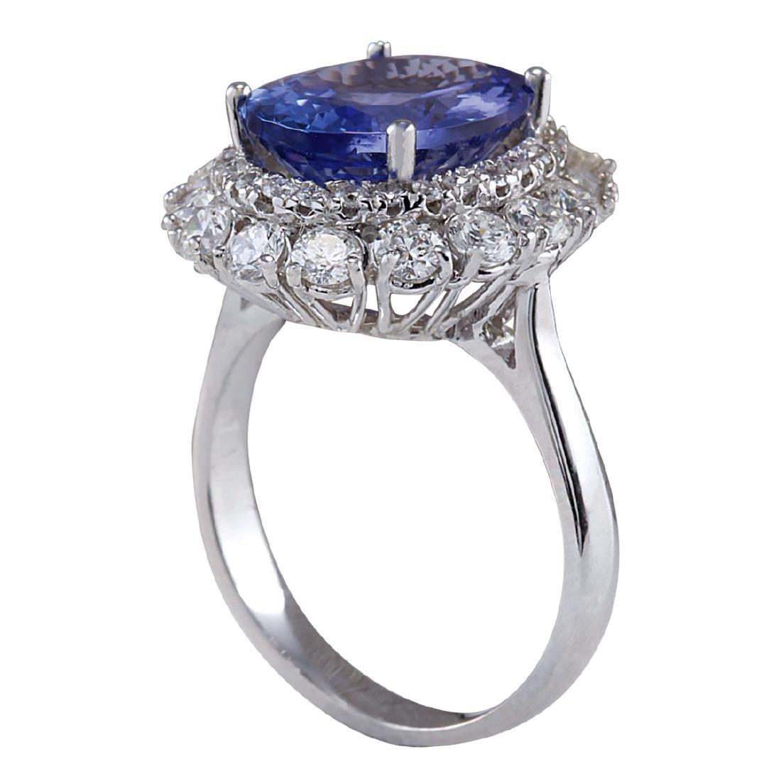 6.52CTW Natural Blue Tanzanite And Diamond Ring 18K - 3