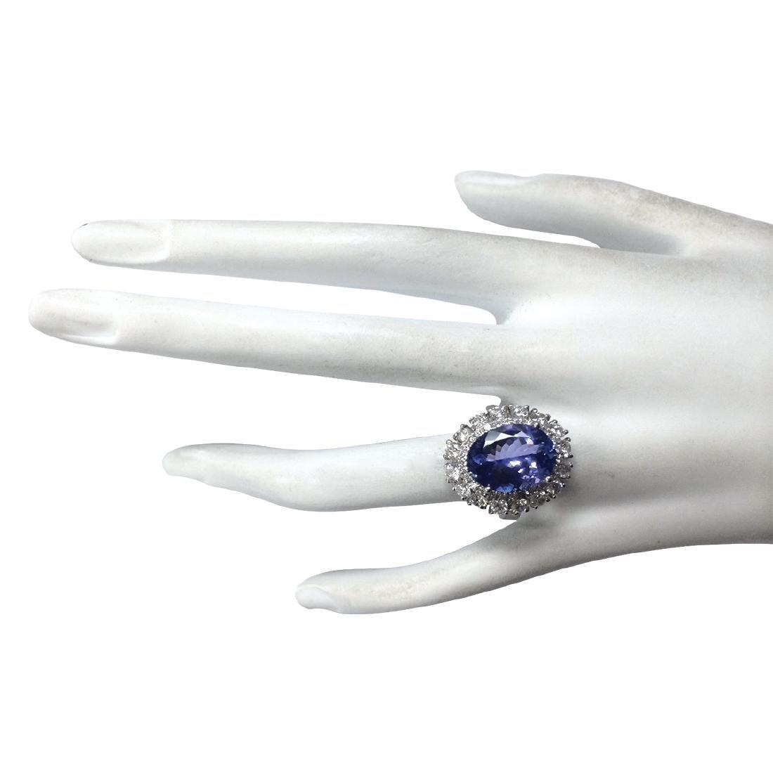 6.52CTW Natural Blue Tanzanite And Diamond Ring 18K - 4