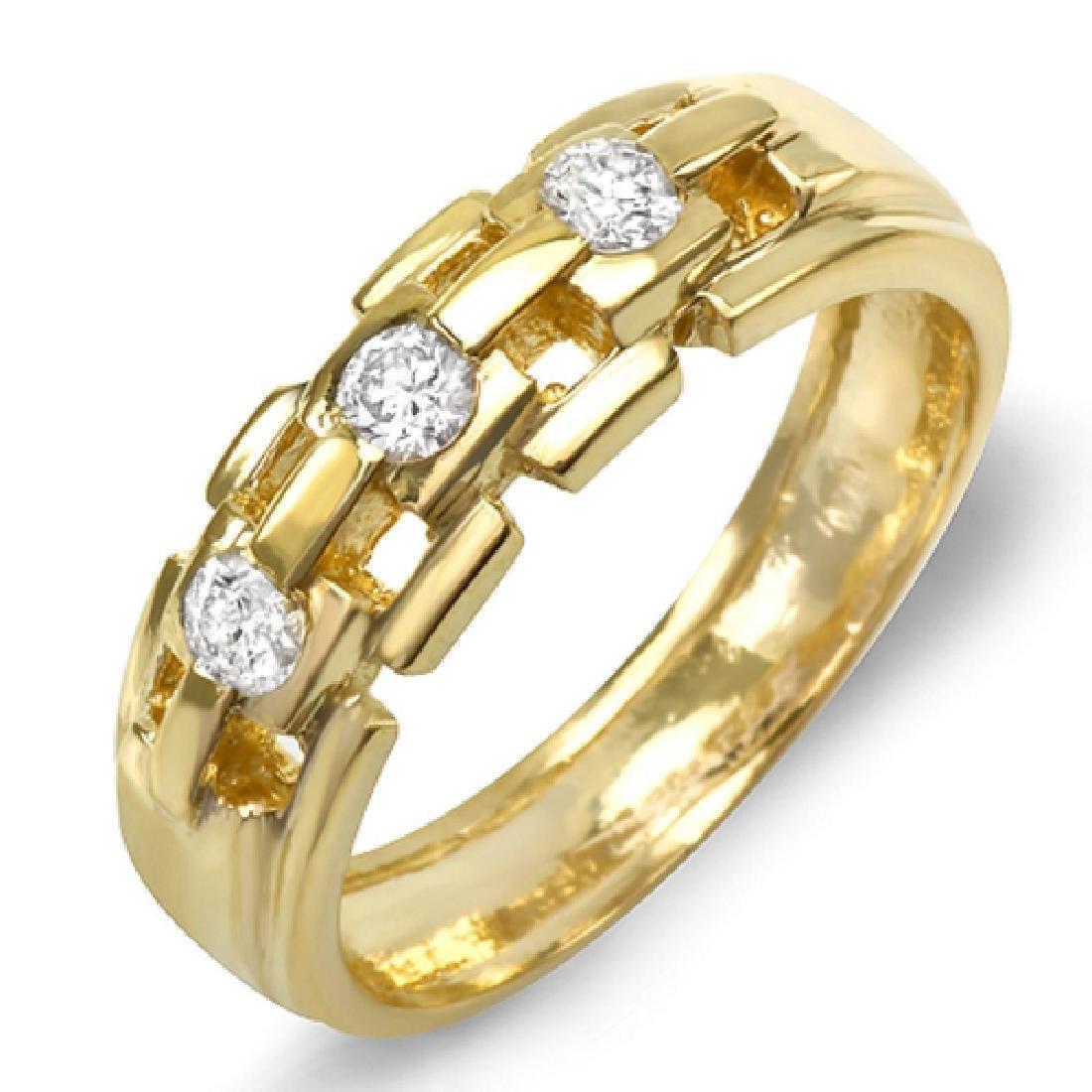 Mens 0.75 Carat Natural Diamond 18K Solid Yellow Gold - 2