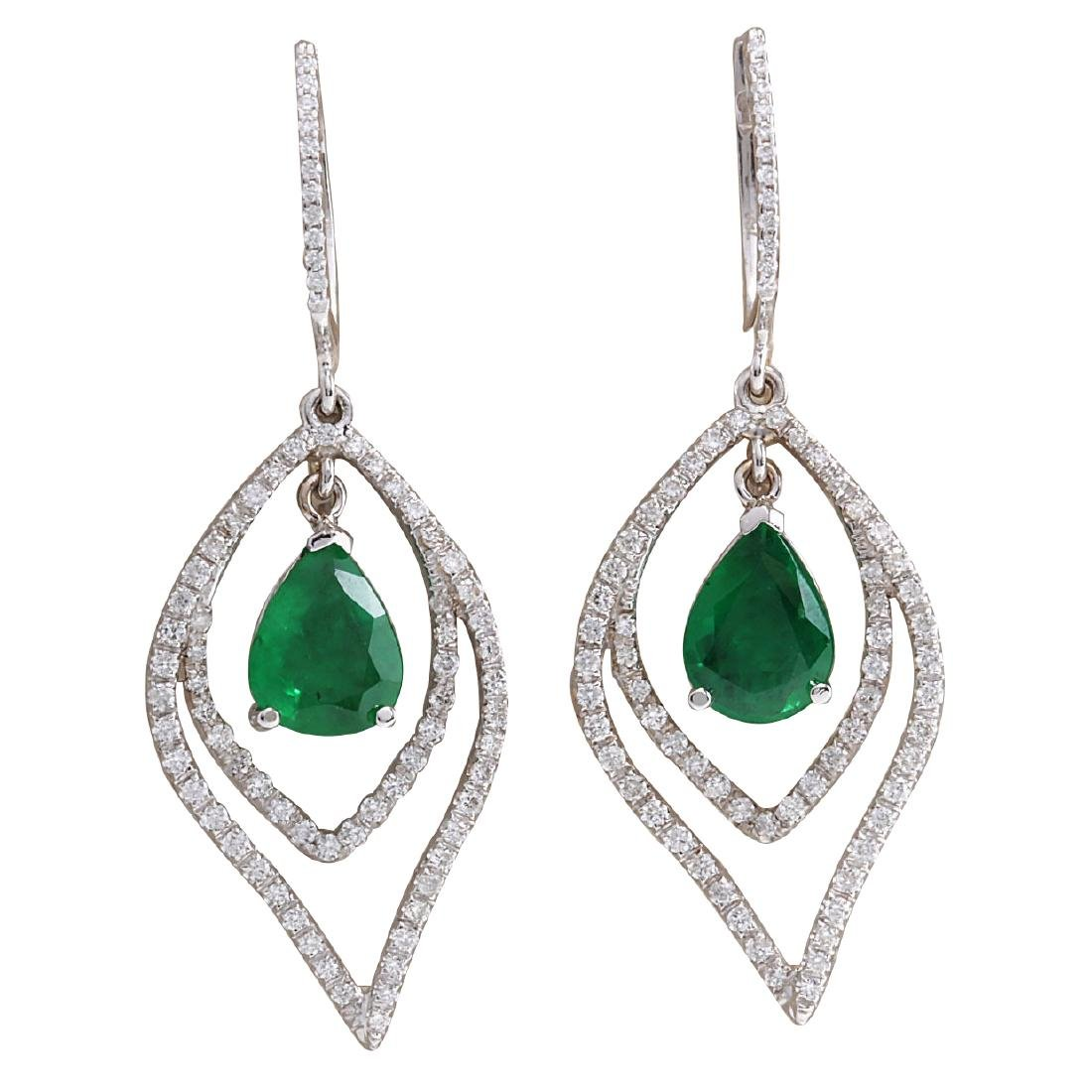 6.98CTW Natural Emerald And Diamond Earrings 18K Solid