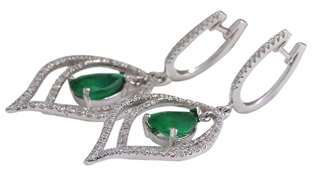 6.98CTW Natural Emerald And Diamond Earrings 18K Solid - 2