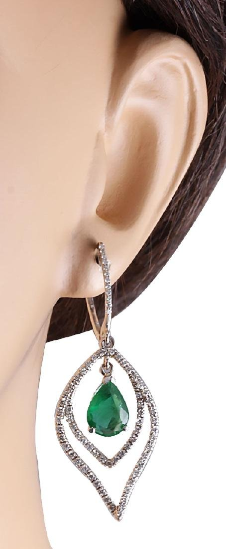 6.98CTW Natural Emerald And Diamond Earrings 18K Solid - 3