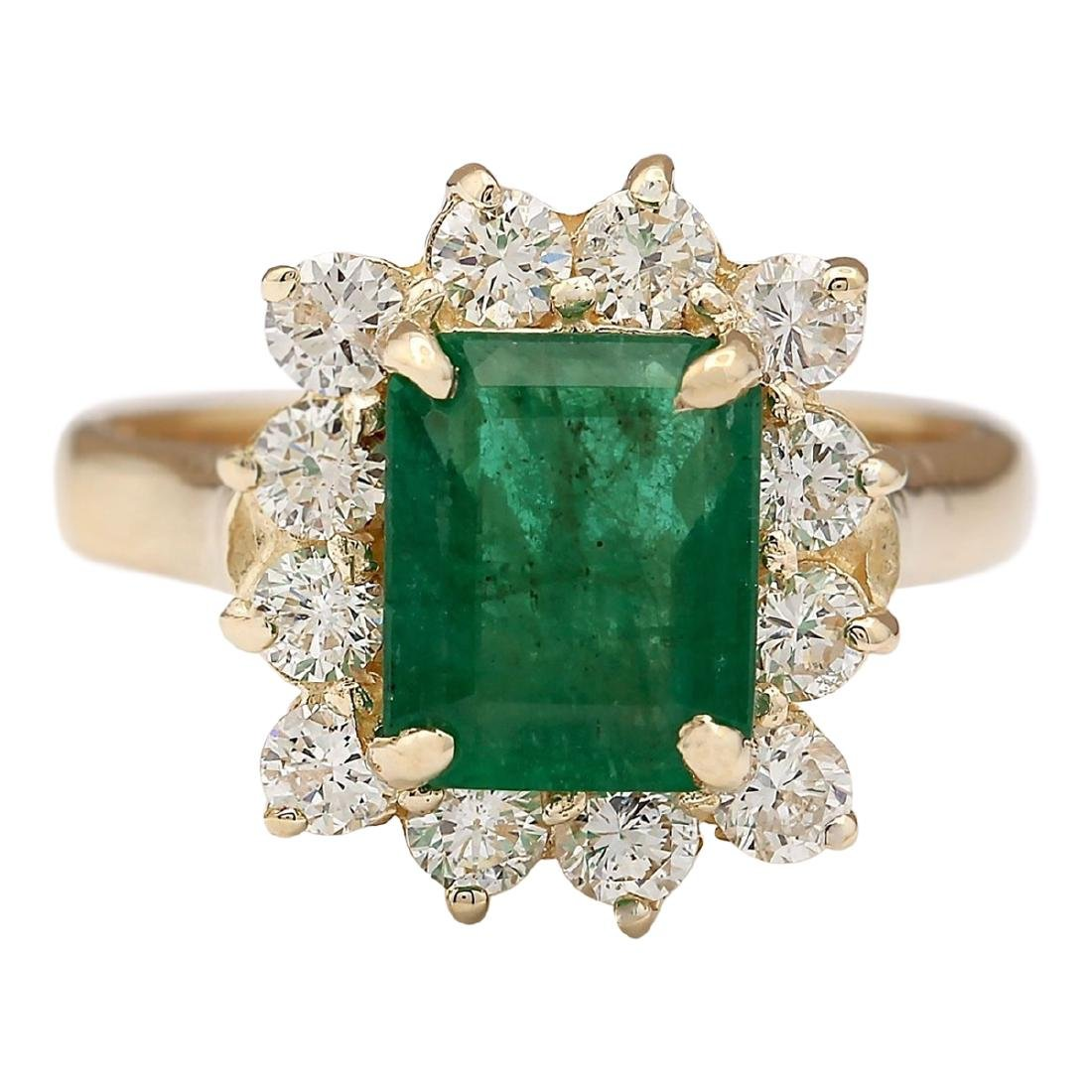 3.21 CTW Natural Emerald And Diamond Ring In 18K Yellow