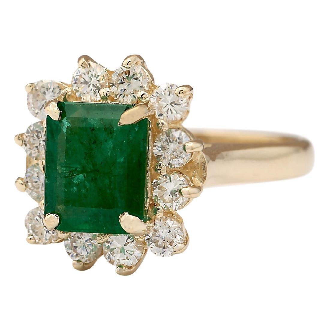 3.21 CTW Natural Emerald And Diamond Ring In 18K Yellow - 2