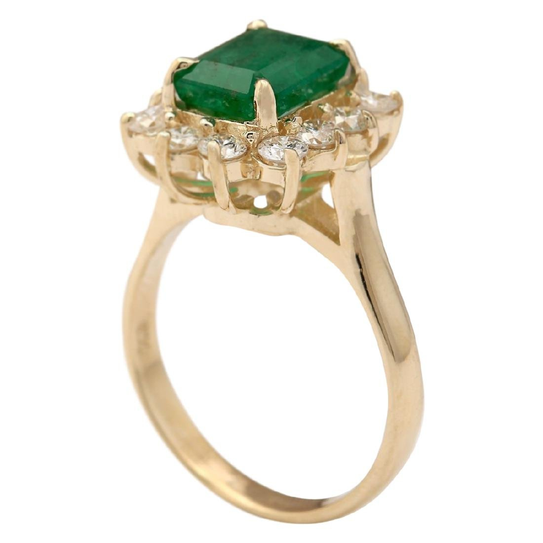 3.21 CTW Natural Emerald And Diamond Ring In 18K Yellow - 3