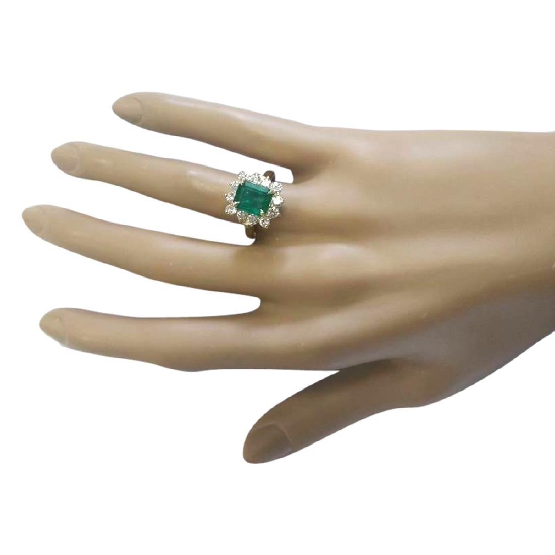 3.21 CTW Natural Emerald And Diamond Ring In 18K Yellow - 4