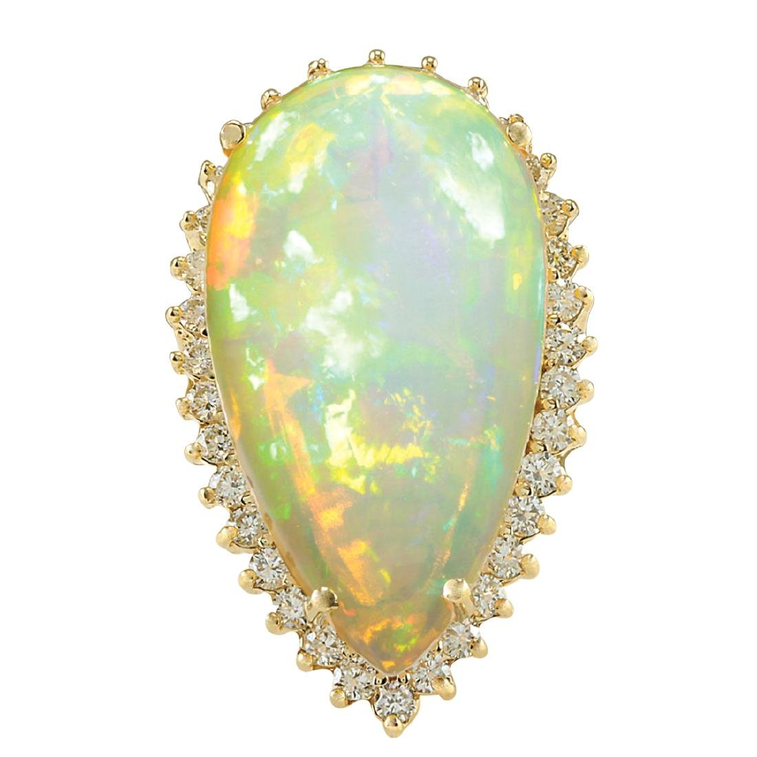 19.42CTW Natural Opal And Diamond Ring In 18K Yellow