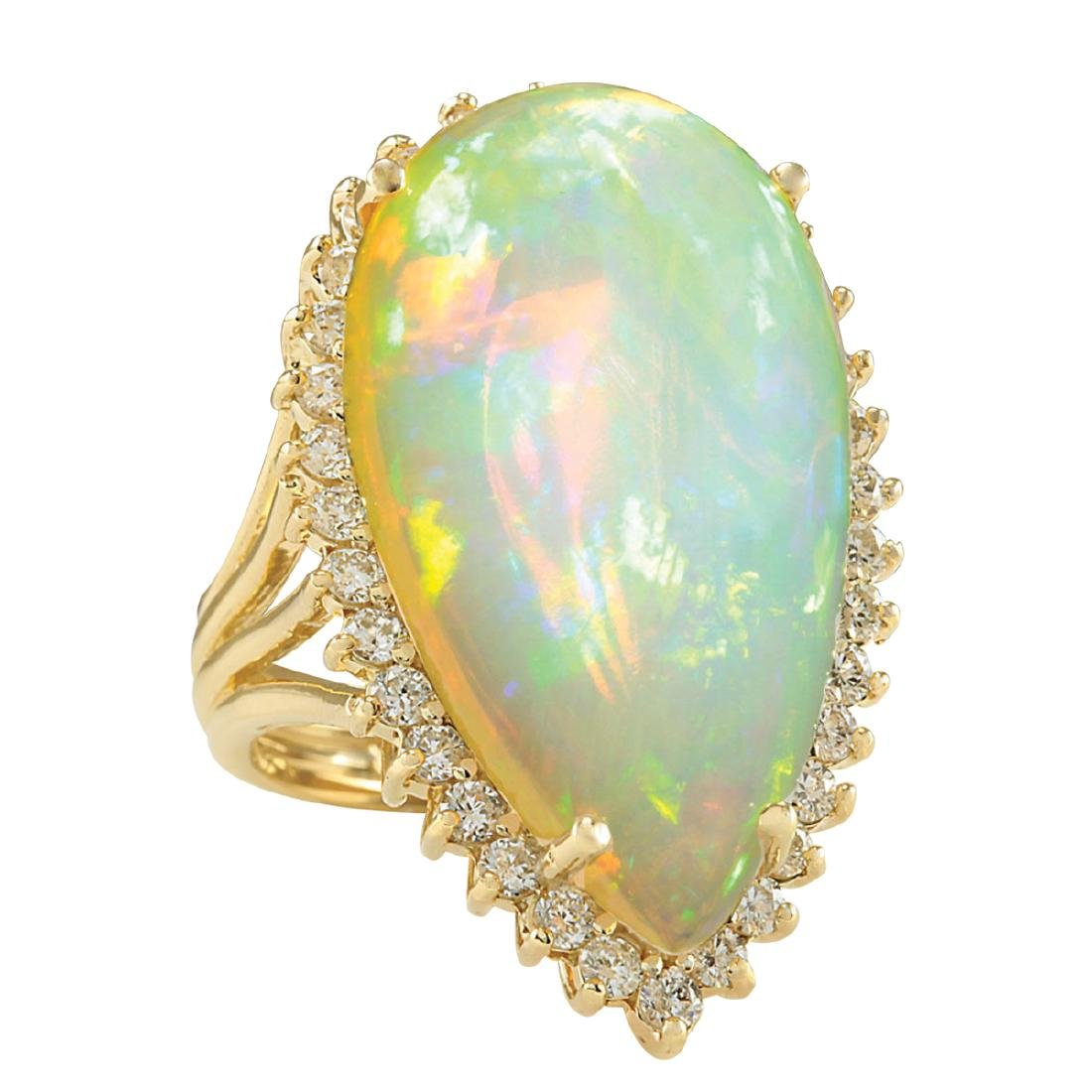 19.42CTW Natural Opal And Diamond Ring In 18K Yellow - 2