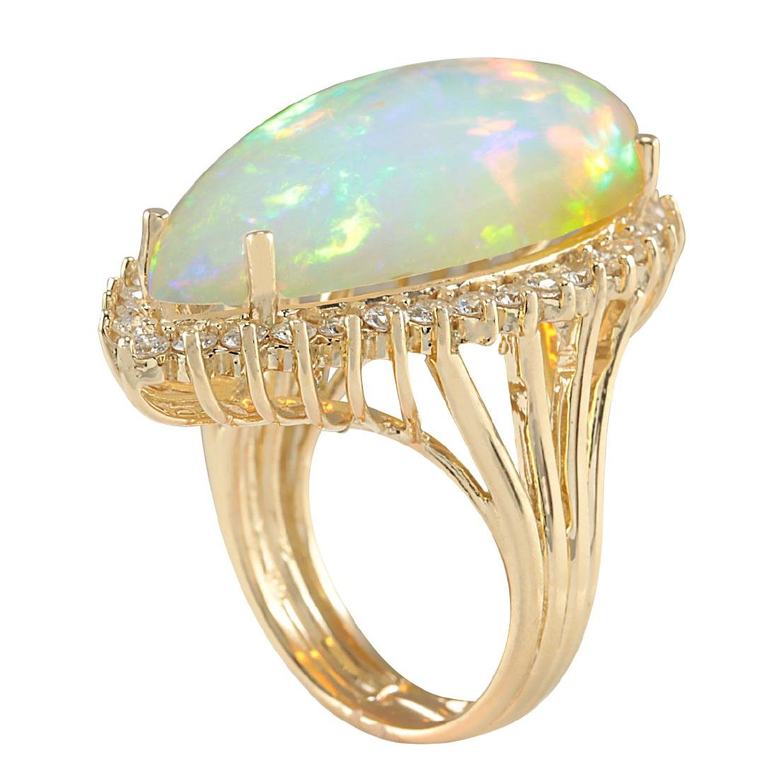 19.42CTW Natural Opal And Diamond Ring In 18K Yellow - 3