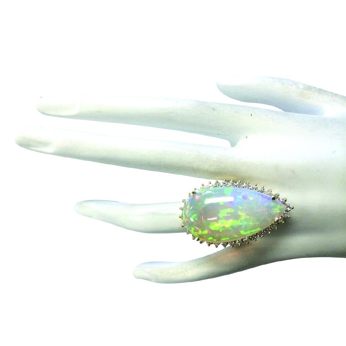 19.42CTW Natural Opal And Diamond Ring In 18K Yellow - 4