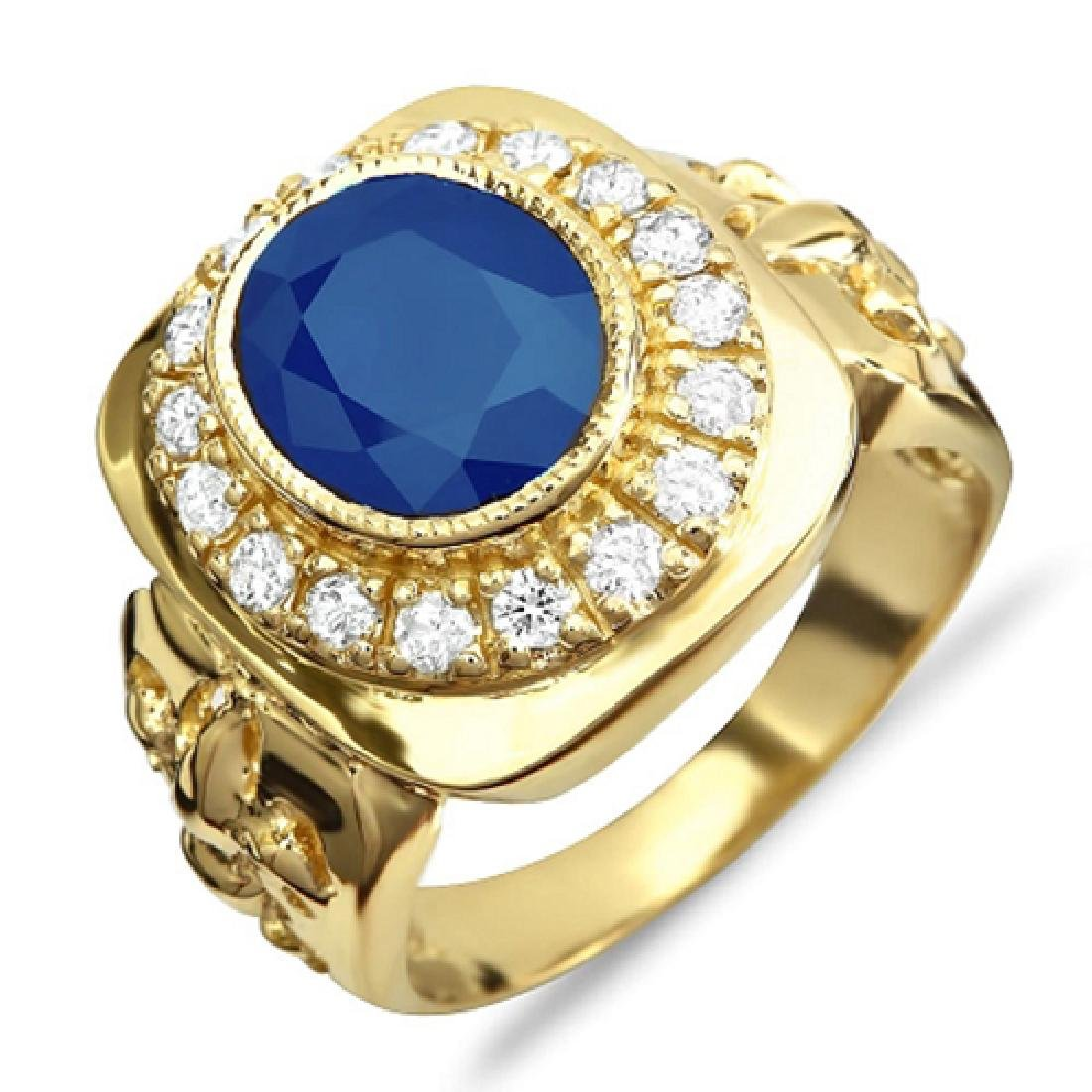 Mens 5.40 Carat Natural Sapphire 18K Solid Yellow Gold