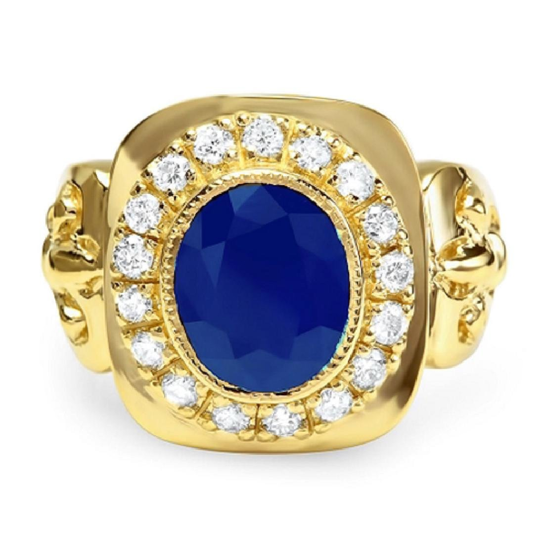 Mens 5.40 Carat Natural Sapphire 18K Solid Yellow Gold - 2