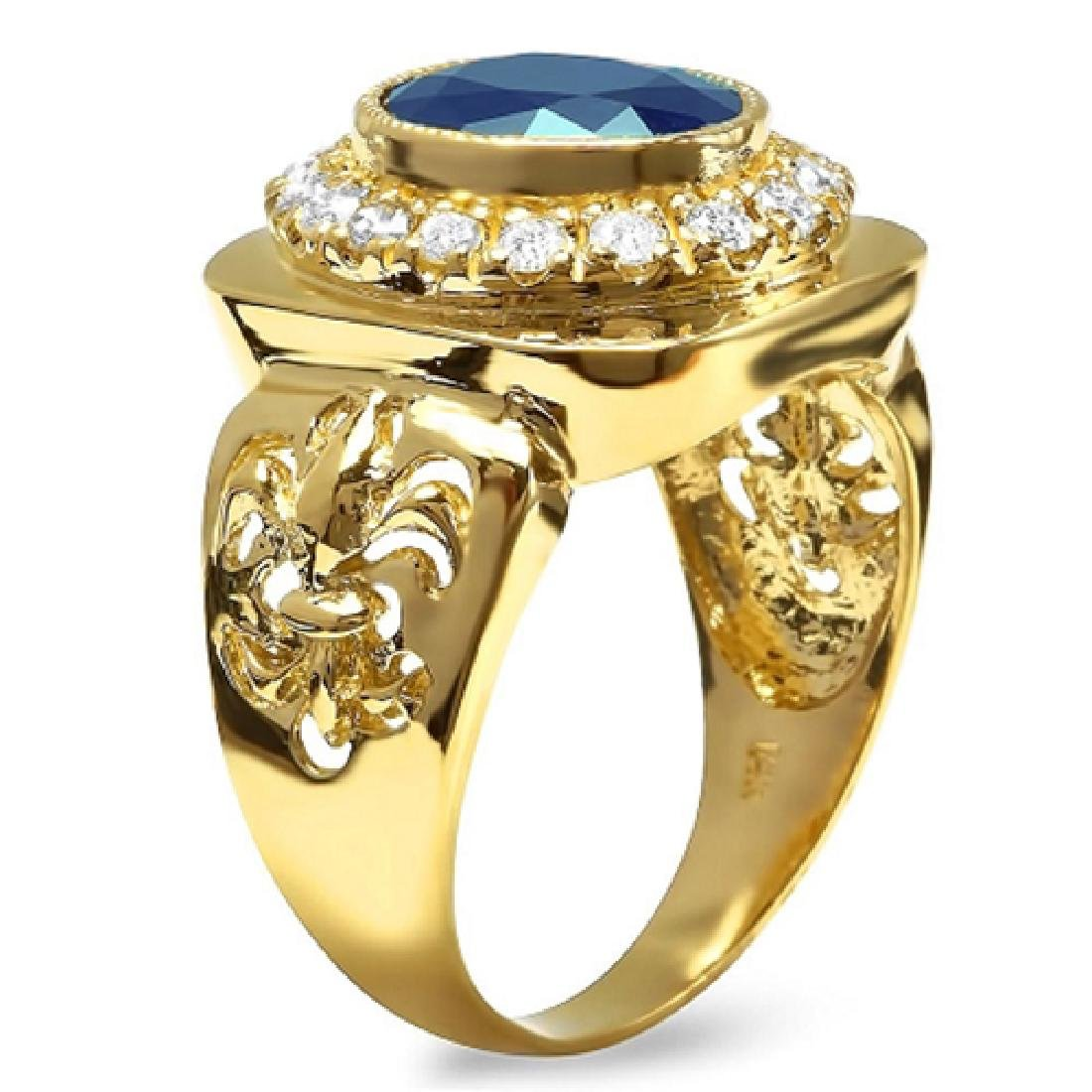 Mens 5.40 Carat Natural Sapphire 18K Solid Yellow Gold - 3
