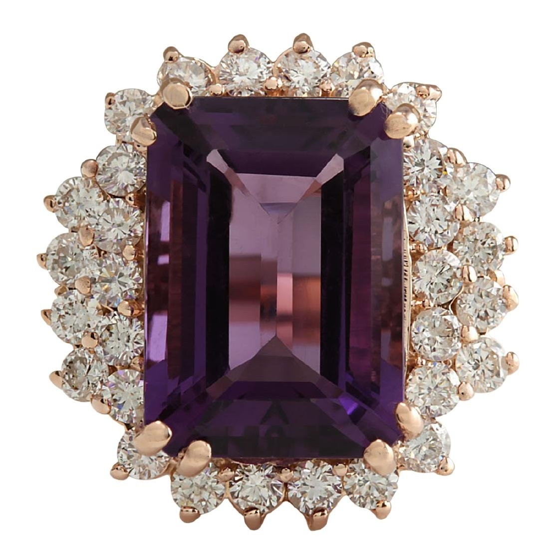 8.37CTW Natural Amethyst And Diamond Ring In 18K Solid