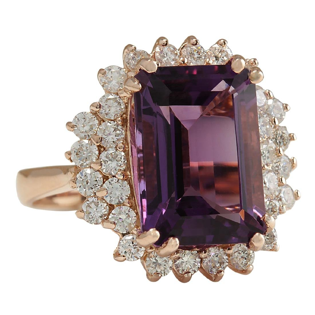 8.37CTW Natural Amethyst And Diamond Ring In 18K Solid - 2