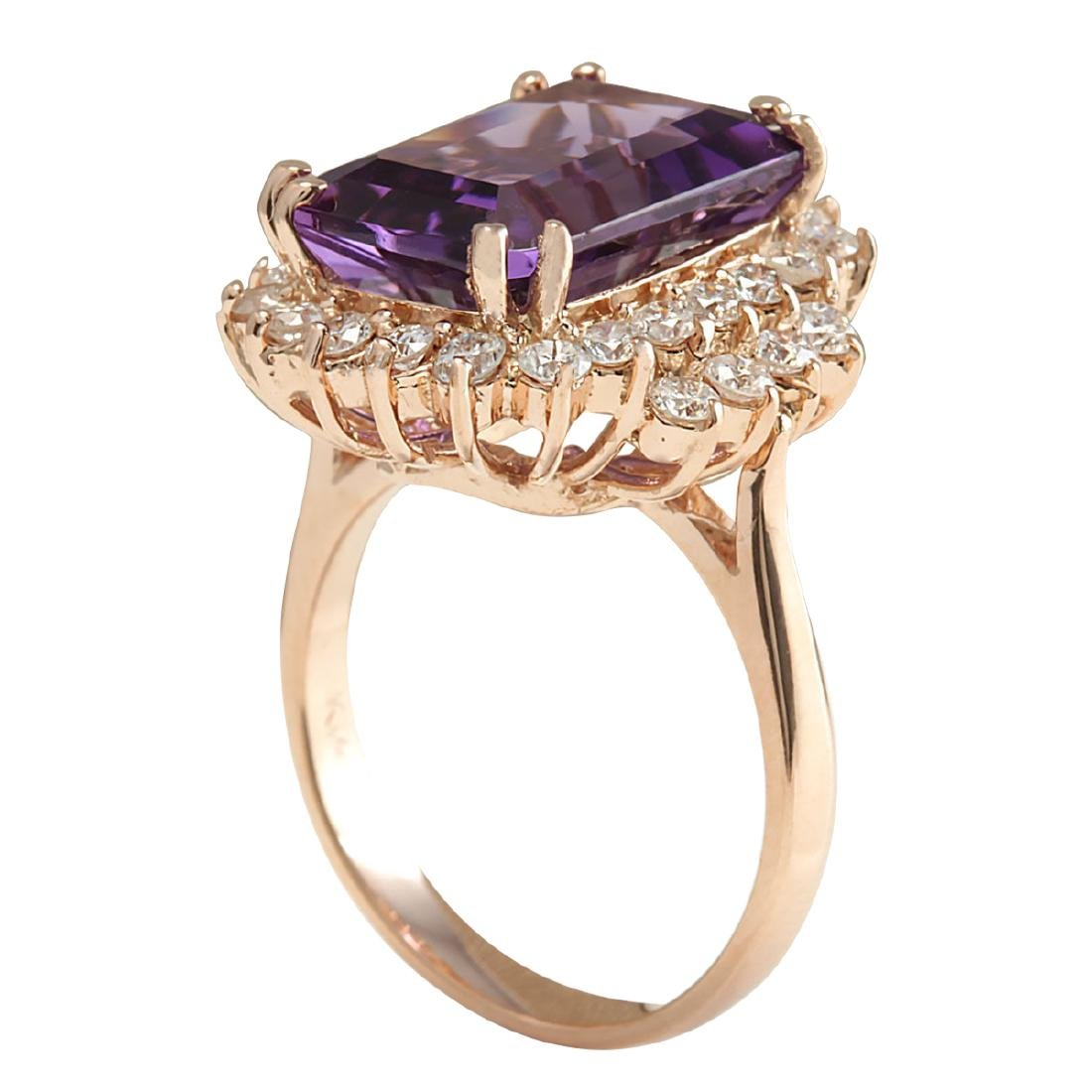8.37CTW Natural Amethyst And Diamond Ring In 18K Solid - 3