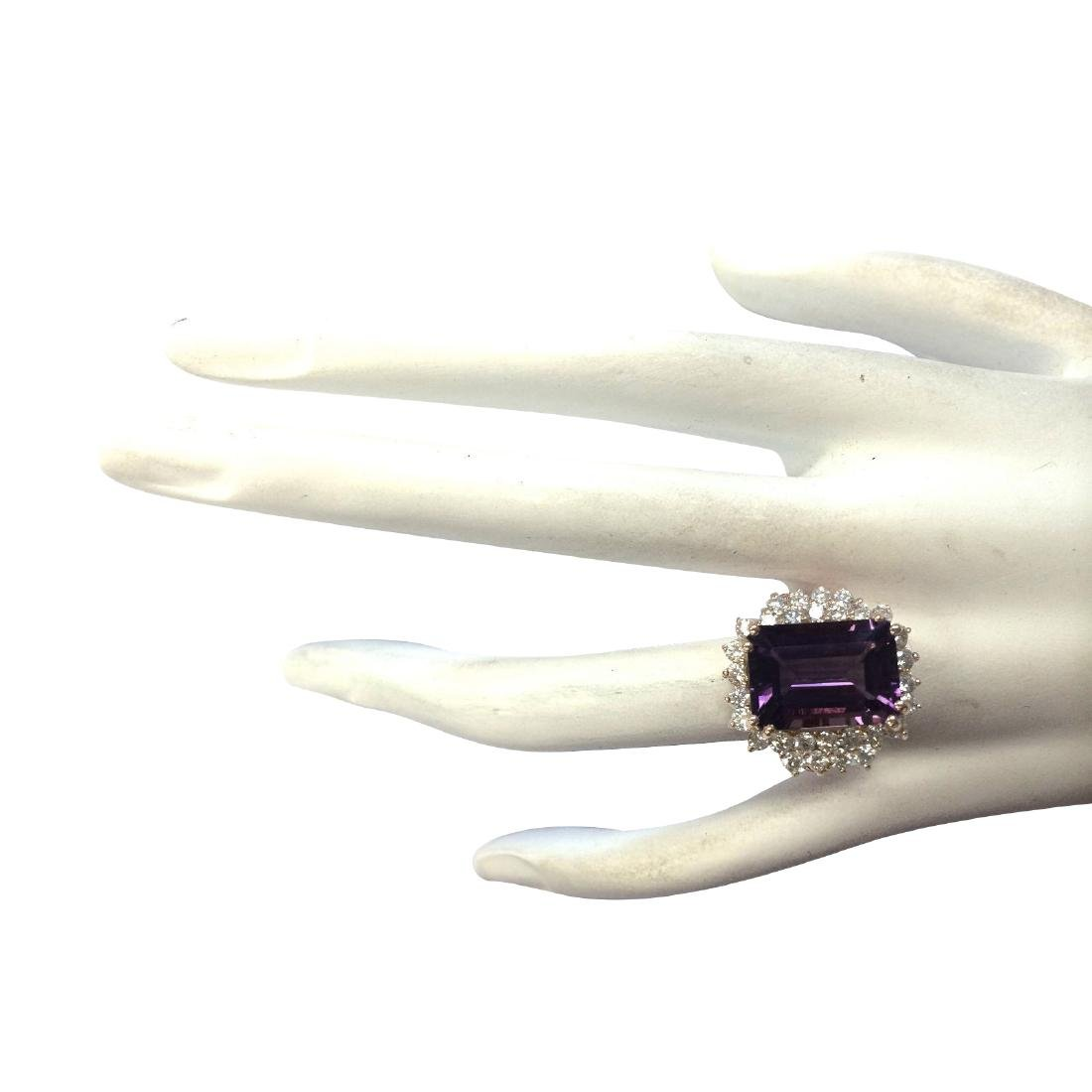 8.37CTW Natural Amethyst And Diamond Ring In 18K Solid - 4
