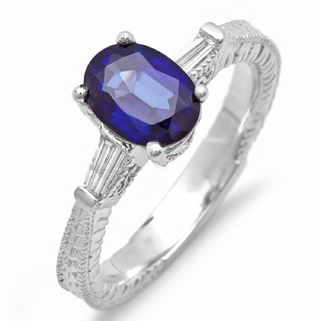 1.60 Carat Natural Sapphire 18K Solid White Gold