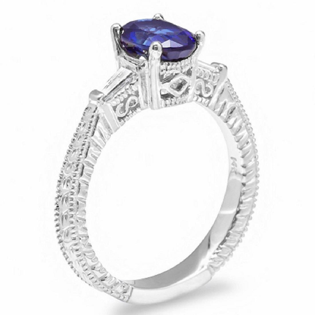1.60 Carat Natural Sapphire 18K Solid White Gold - 2
