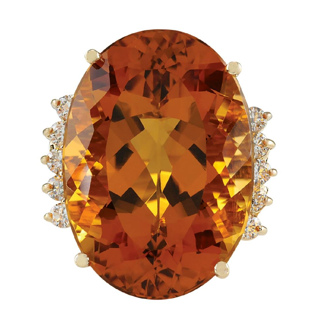 32.41CTW Natural Citrine And Diamond Ring In 18K Solid
