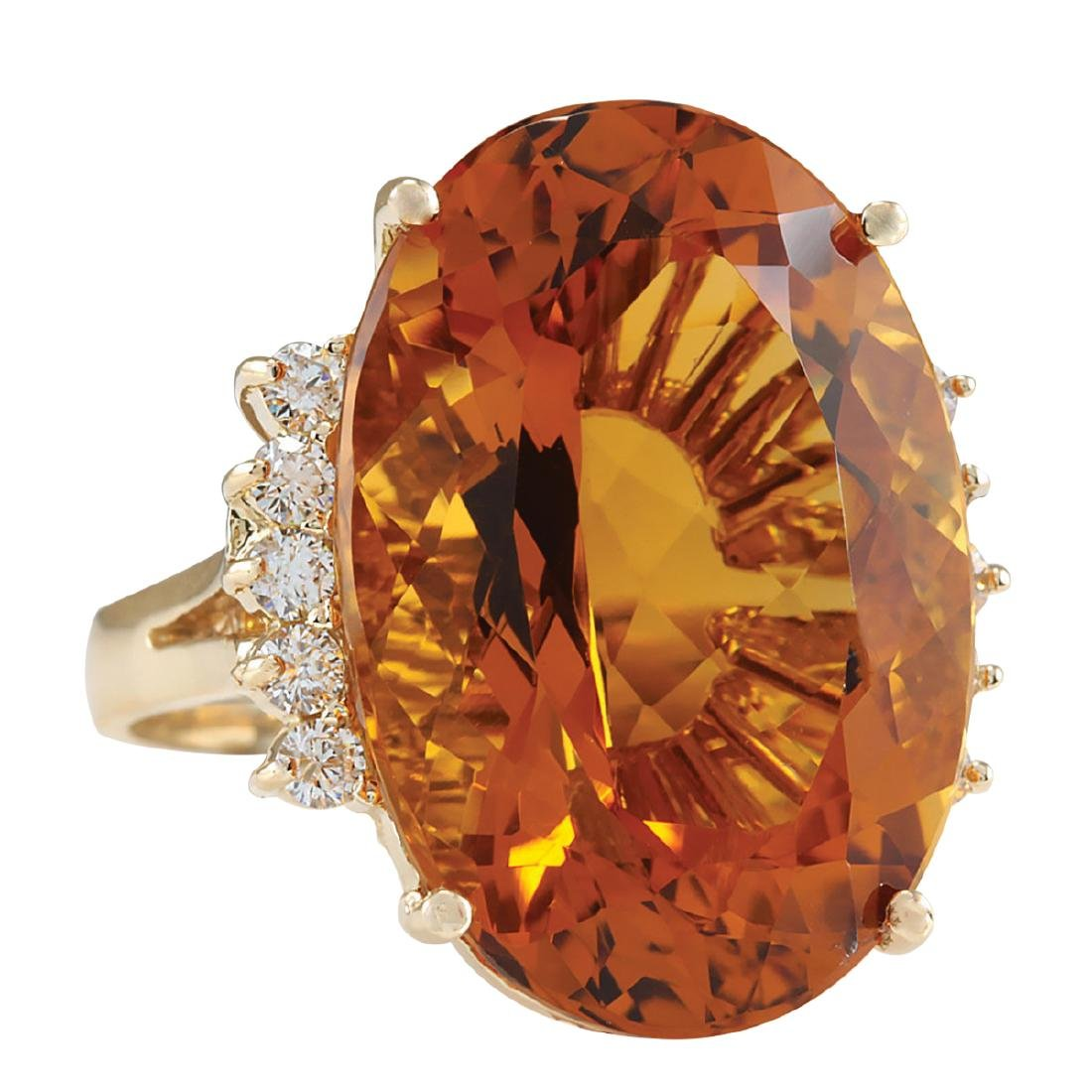 32.41CTW Natural Citrine And Diamond Ring In 18K Solid - 2