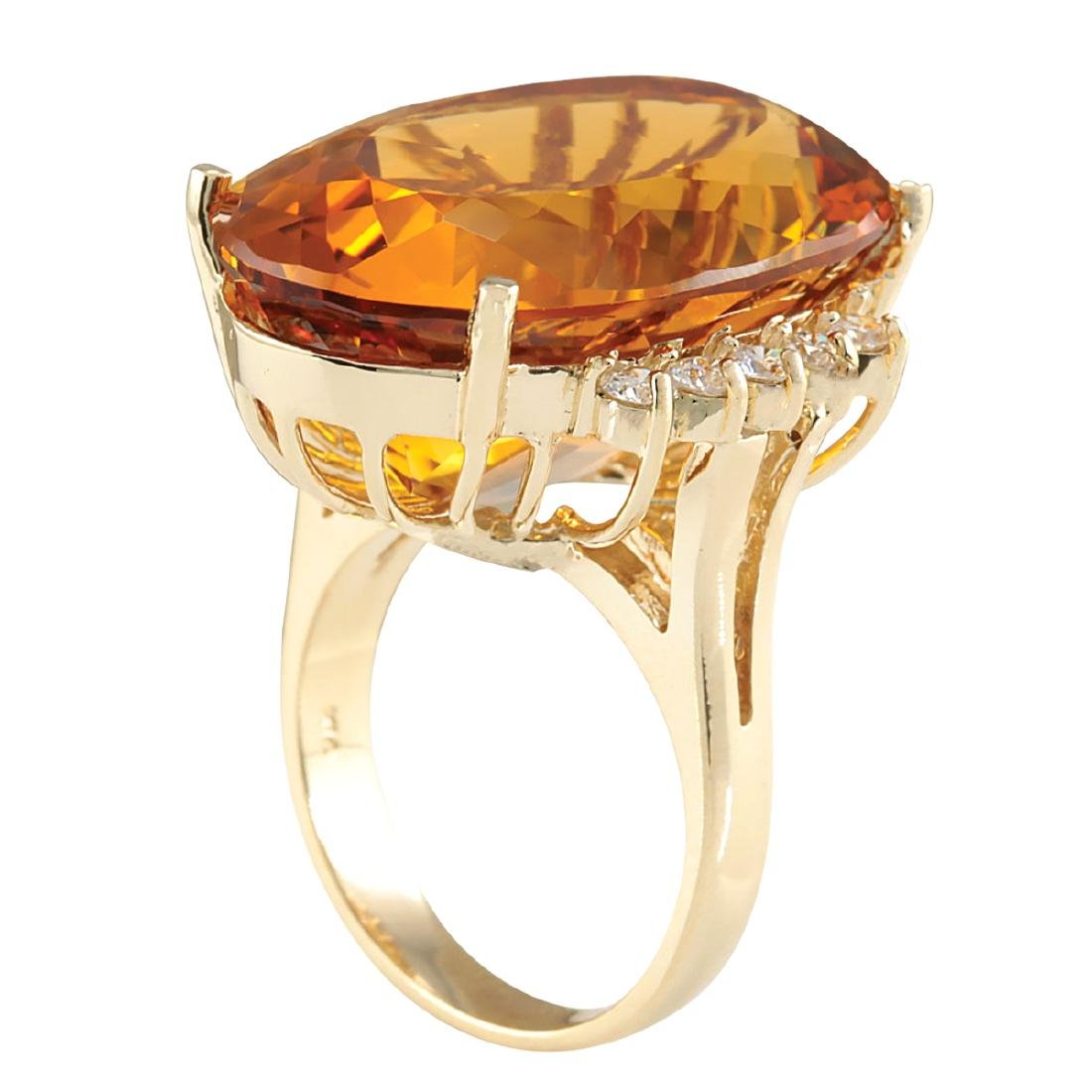 32.41CTW Natural Citrine And Diamond Ring In 18K Solid - 3