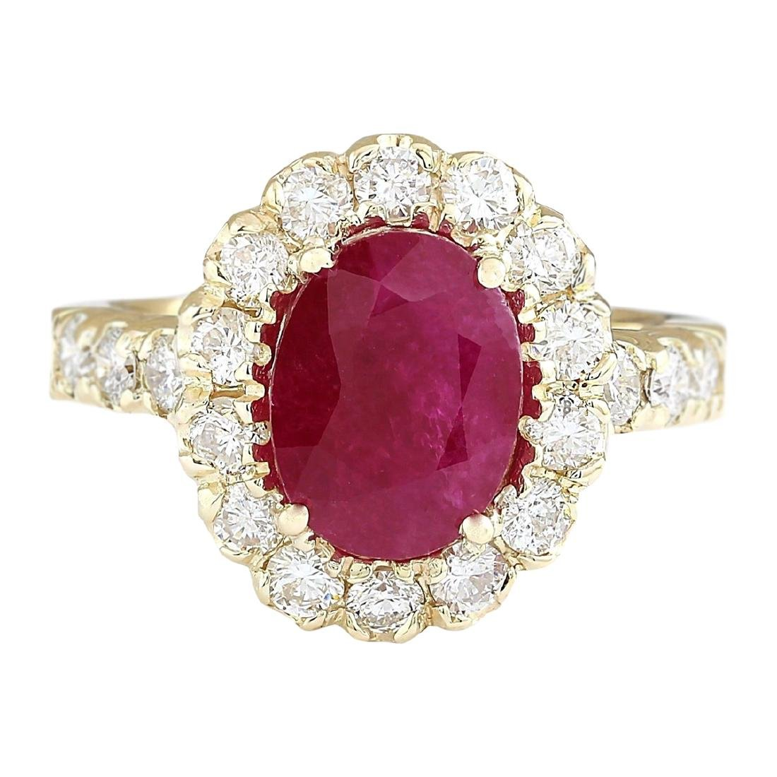 3.33 CTW Natural Ruby And Diamond Ring In 18K Yellow