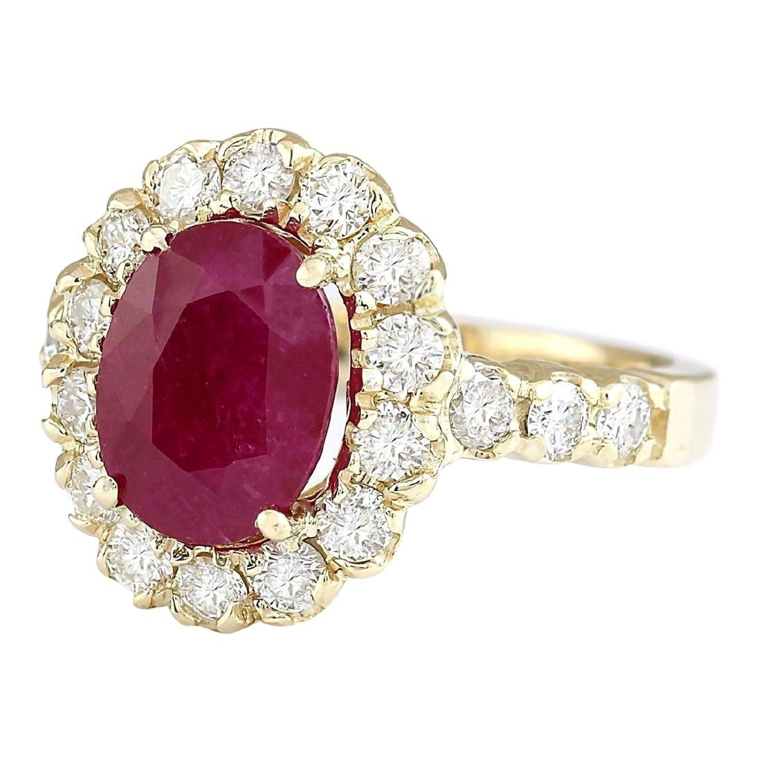 3.33 CTW Natural Ruby And Diamond Ring In 18K Yellow - 2