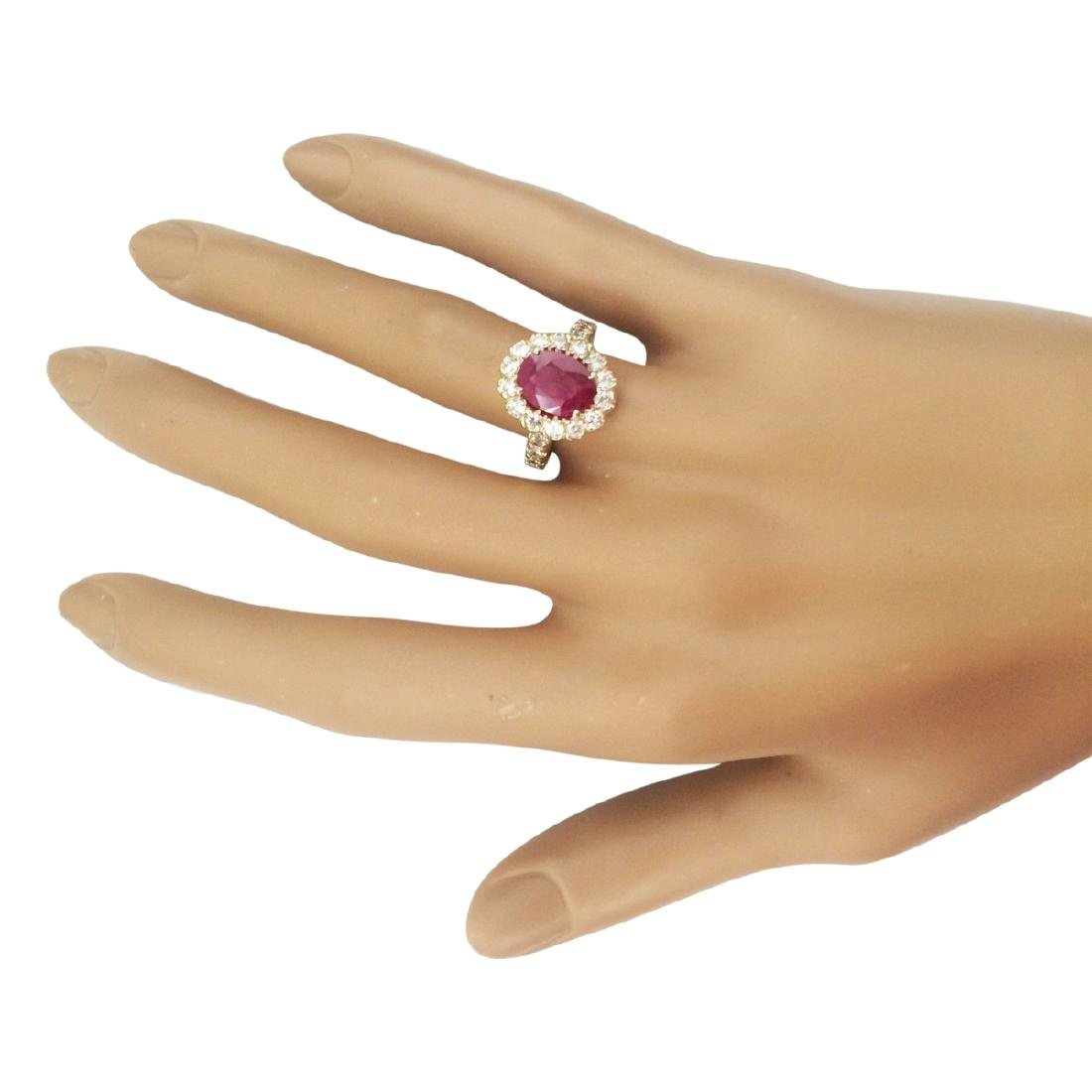 3.33 CTW Natural Ruby And Diamond Ring In 18K Yellow - 4