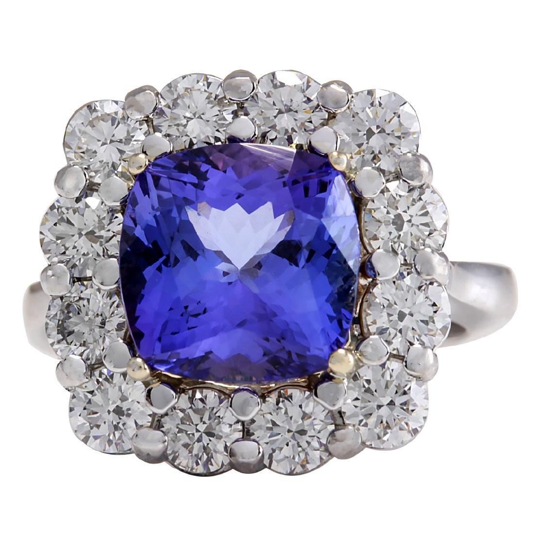 6.91CTW Natural Blue Tanzanite And Diamond Ring 18K