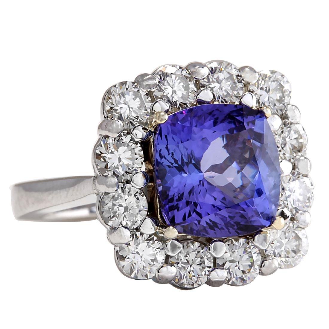 6.91CTW Natural Blue Tanzanite And Diamond Ring 18K - 2