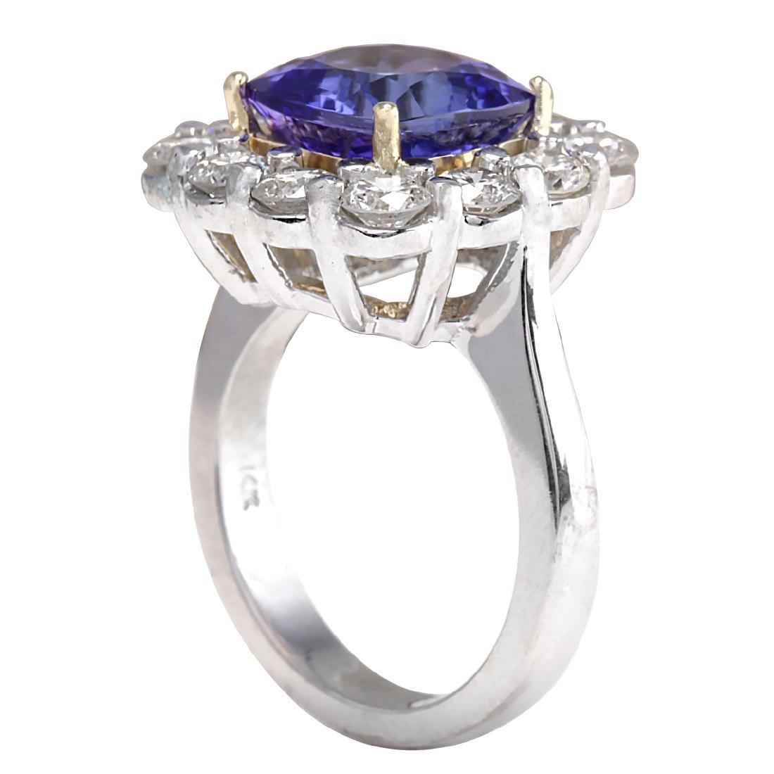 6.91CTW Natural Blue Tanzanite And Diamond Ring 18K - 3