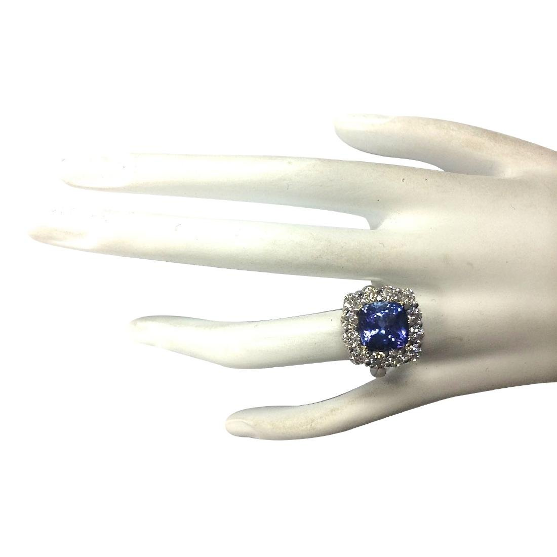 6.91CTW Natural Blue Tanzanite And Diamond Ring 18K - 4