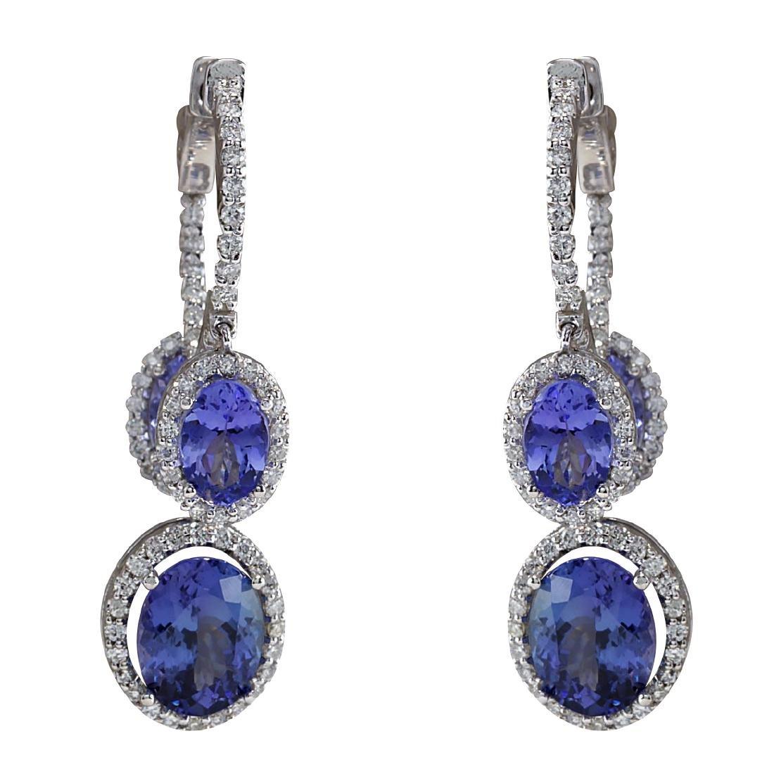 7.78CTW Natural Tanzanite And Diamond Earrings 18K