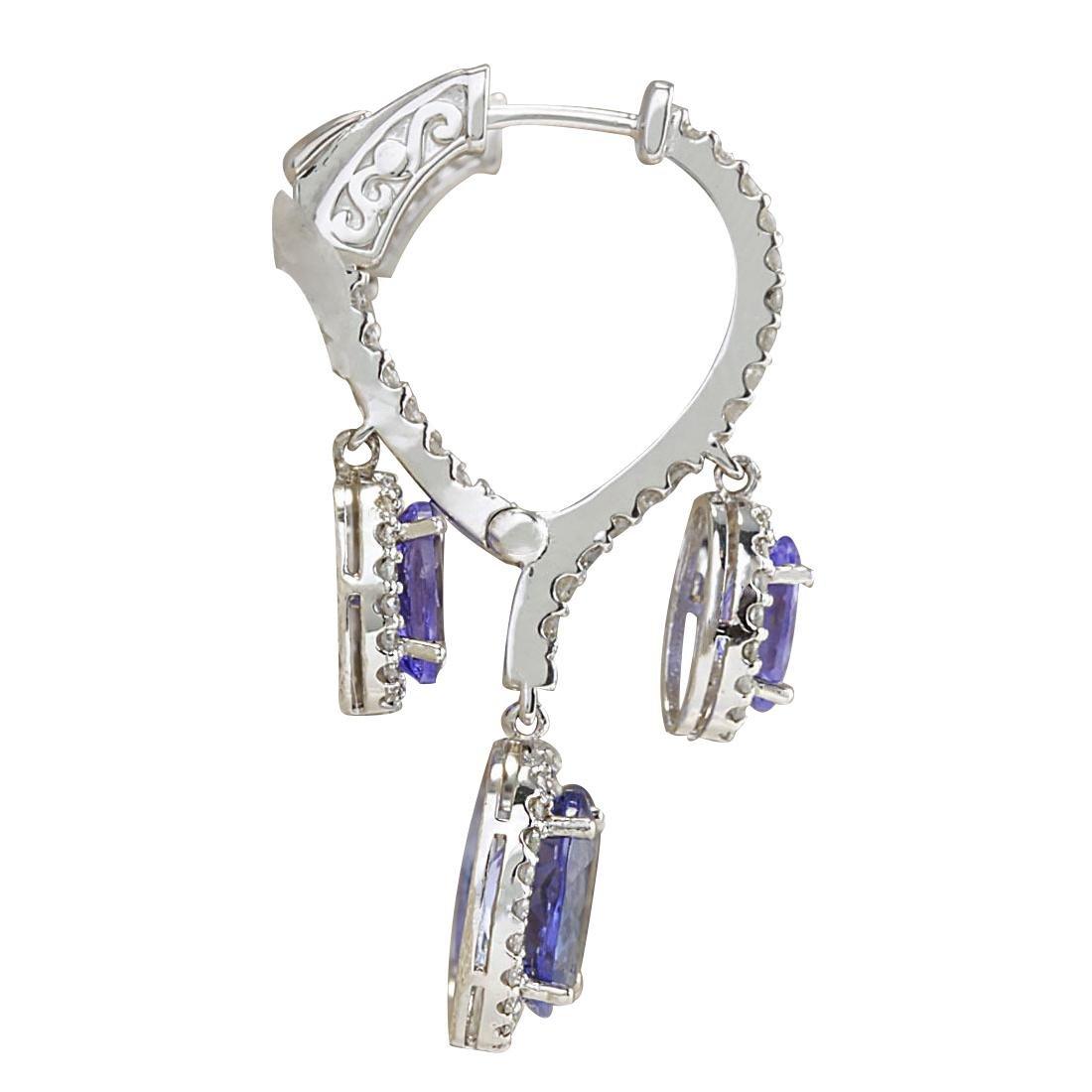 7.78CTW Natural Tanzanite And Diamond Earrings 18K - 2