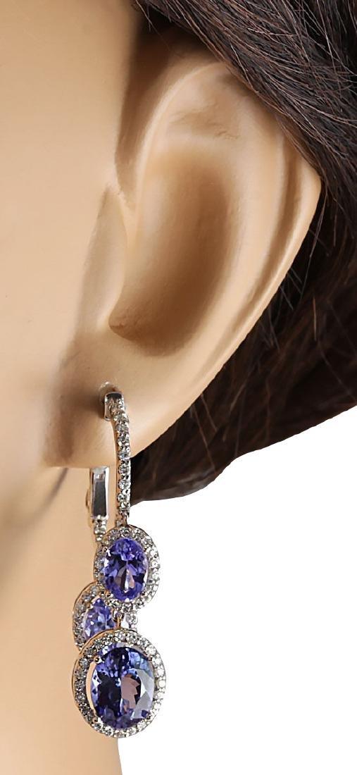 7.78CTW Natural Tanzanite And Diamond Earrings 18K - 3