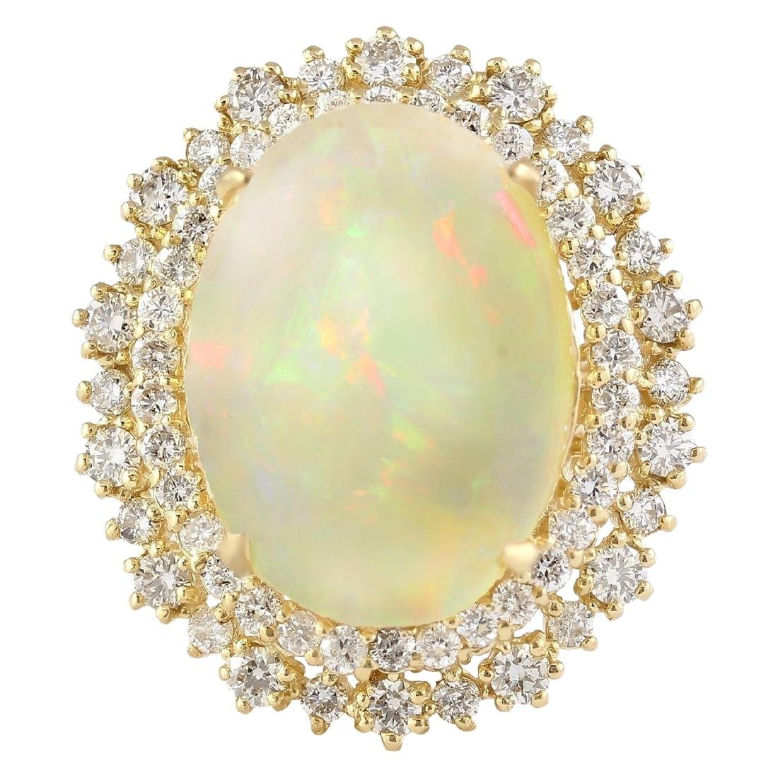 9.91 CTW Natural Opal And Diamond Ring In 18K Yellow