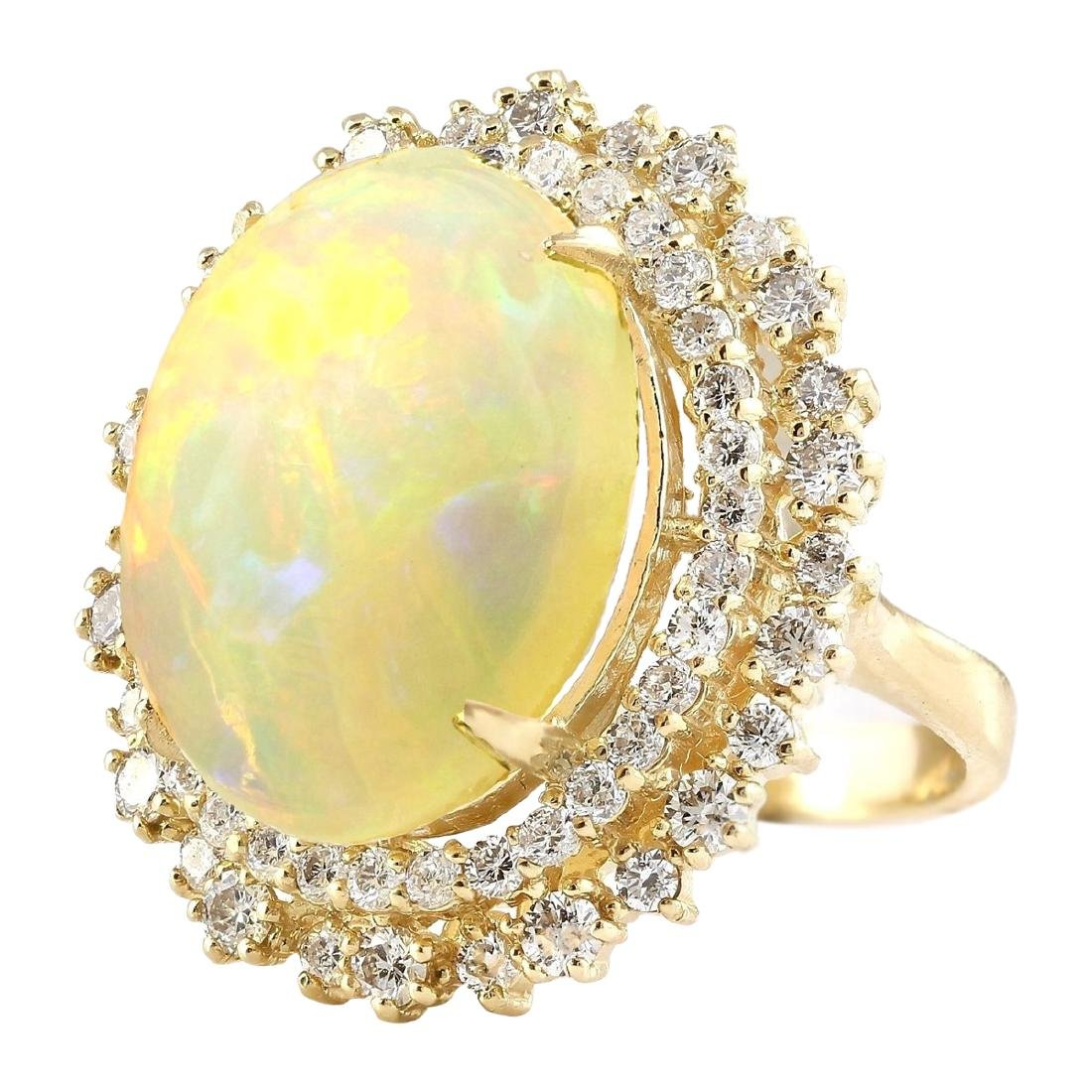 9.91 CTW Natural Opal And Diamond Ring In 18K Yellow - 2