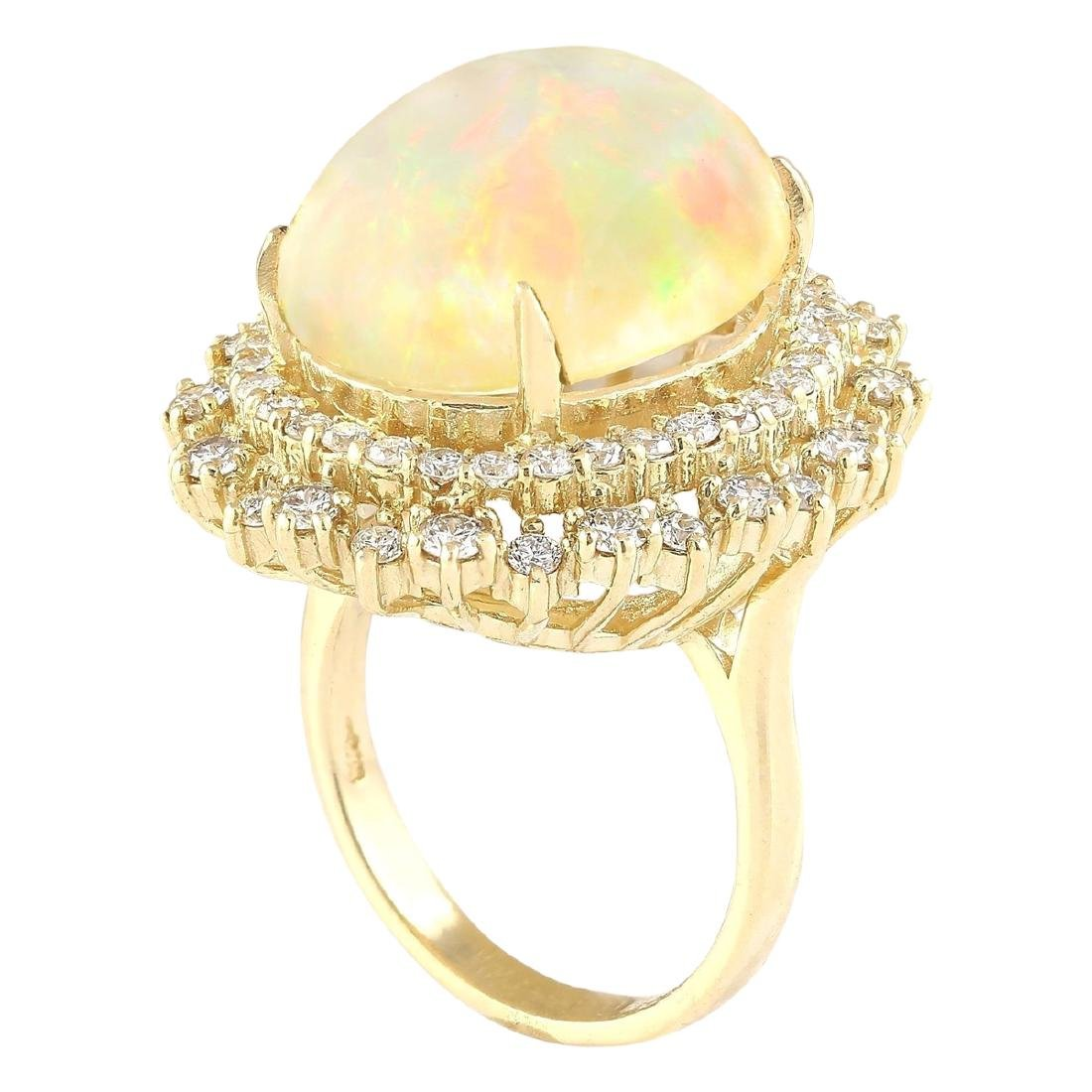 9.91 CTW Natural Opal And Diamond Ring In 18K Yellow - 3