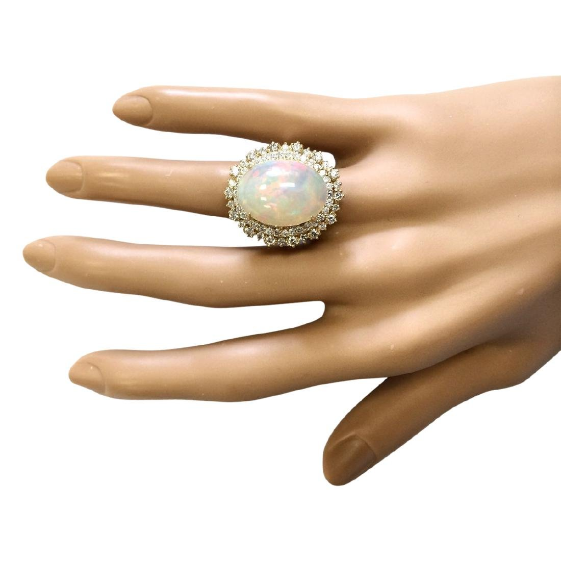 9.91 CTW Natural Opal And Diamond Ring In 18K Yellow - 4