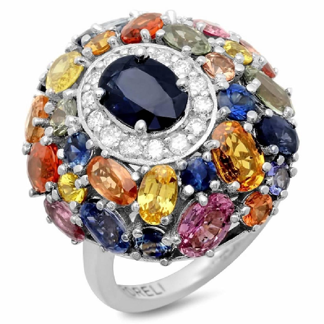 10.99 Carat Natural Sapphire 18K Solid White Gold