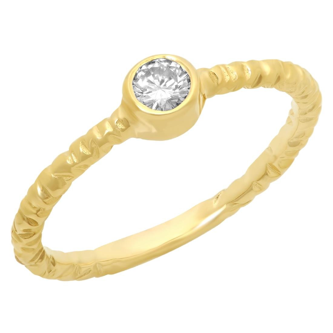 0.20 Carat Natural Diamond 18K Solid Yellow Gold Ring