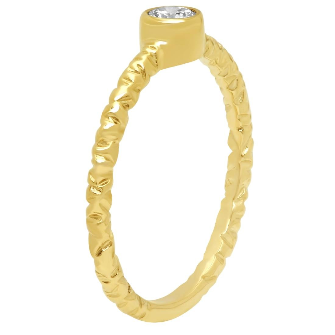 0.20 Carat Natural Diamond 18K Solid Yellow Gold Ring - 2