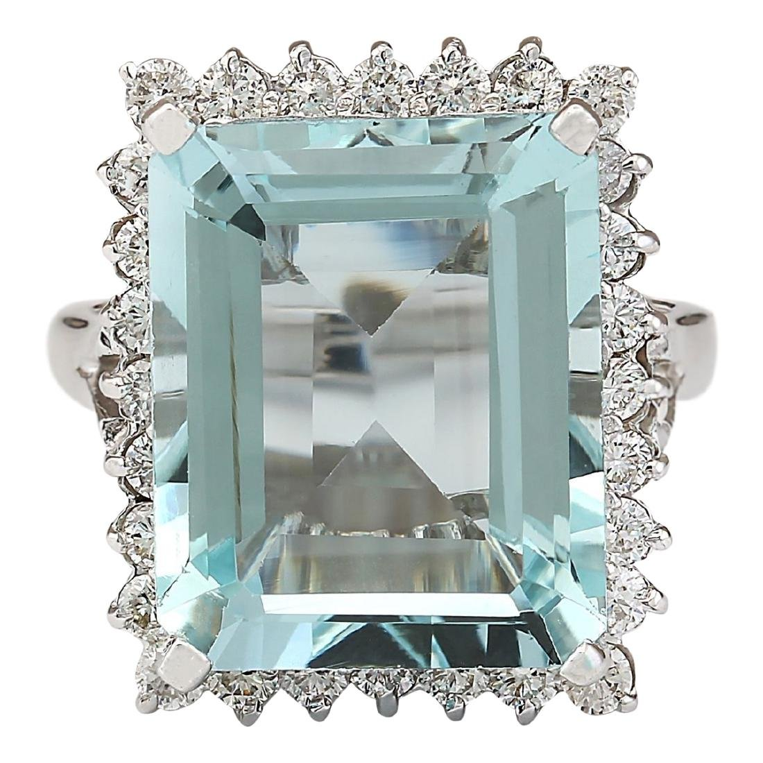 12.29 CTW Natural Aquamarine And Diamond Ring In 18K