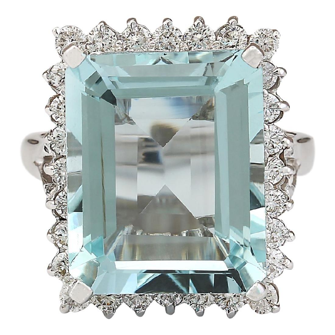 12.29 CTW Natural Aquamarine And Diamond Ring In 18K