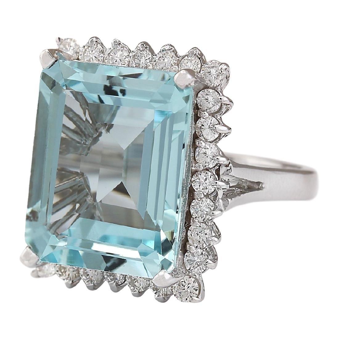 12.29 CTW Natural Aquamarine And Diamond Ring In 18K - 2