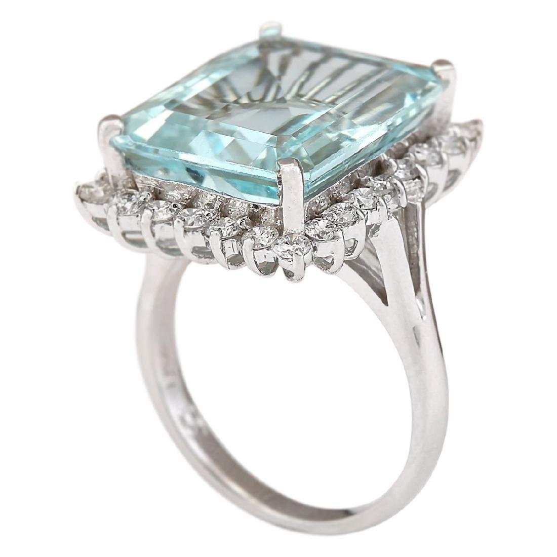 12.29 CTW Natural Aquamarine And Diamond Ring In 18K - 3
