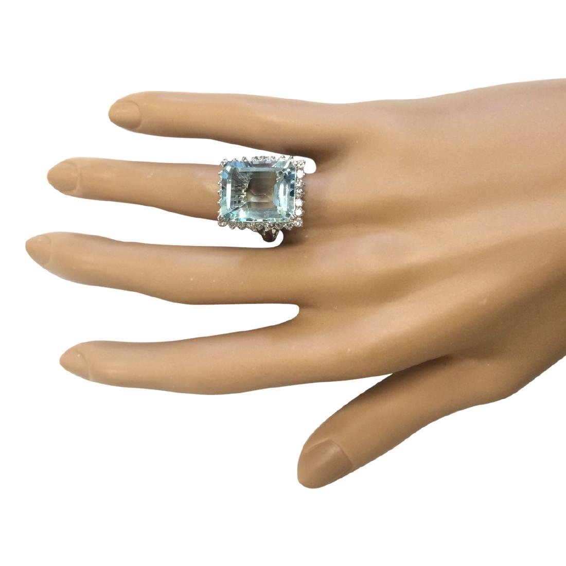 12.29 CTW Natural Aquamarine And Diamond Ring In 18K - 4