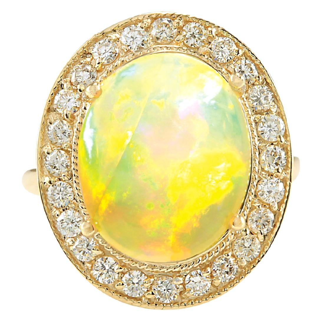 7.21CTW Natural Opal And Diamond Ring In 18K Solid