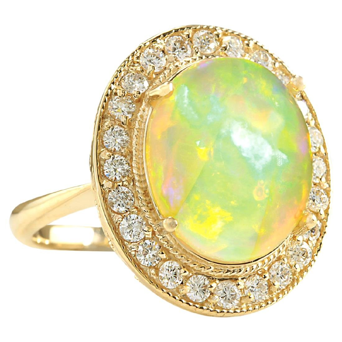 7.21CTW Natural Opal And Diamond Ring In 18K Solid - 2
